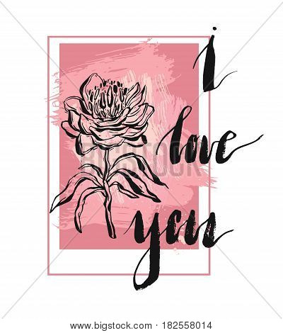Bright pink romantic invitation card template in vector with handwritten lettering phase I love you and peones. Delightful Save the Date card in modern style.