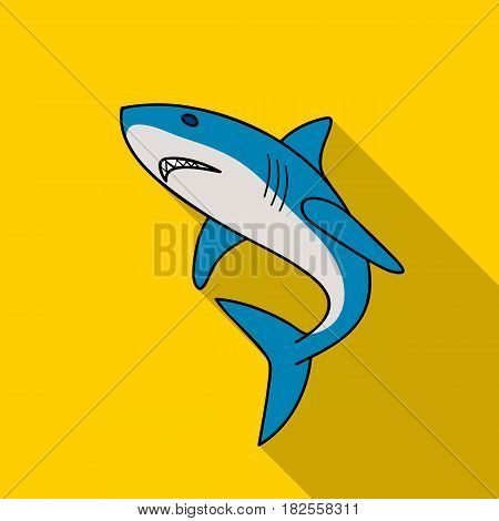 Great white shark icon in flate design isolated on white background. Surfing symbol stock vector illustration.
