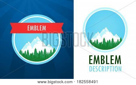 Swiss Alps Logo Set of Vector Emblems with Text Captions isolated on White and Dark Background. Nature Landscapes with Mountains.