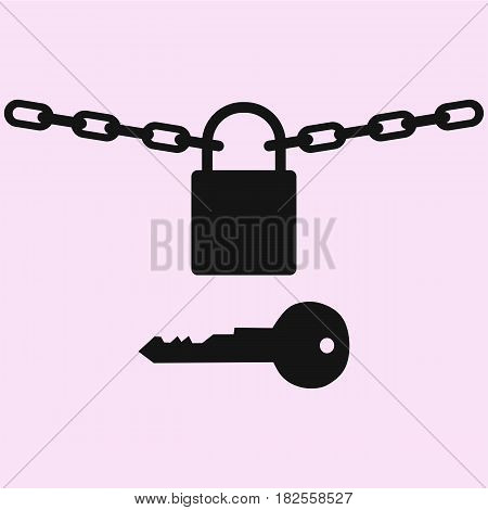 Padlock with chain and key vector silhouette isolated