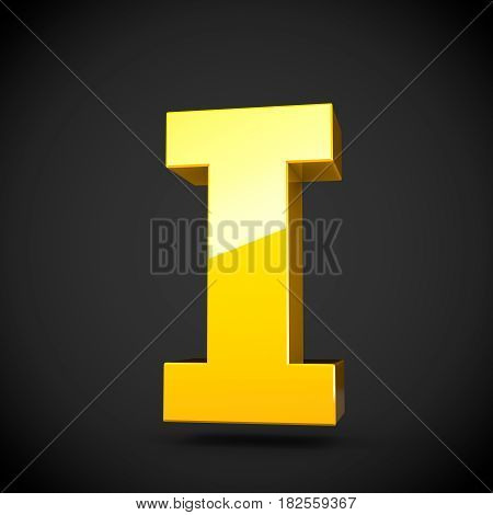 Glossy Yellow Paint Letter I Uppercase With Softbox Reflection