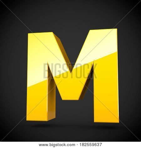 Glossy Yellow Paint Letter M Uppercase With Softbox Reflection