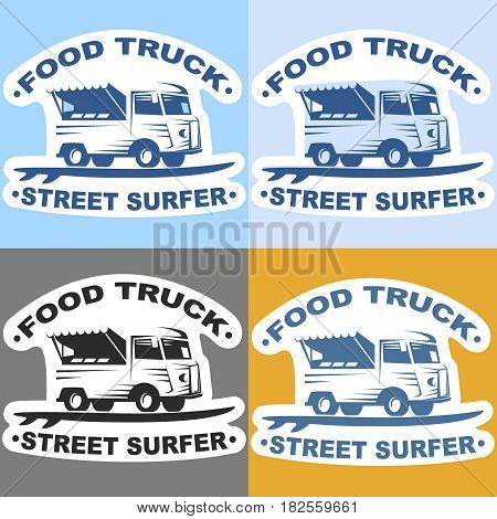 Food truck stickers with surf board. Street surfer food truck stickers. Multicolor set of stickers of Food truck. Vector illustration