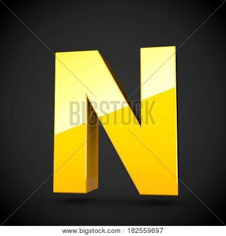 Glossy Yellow Paint Letter N Uppercase With Softbox Reflection