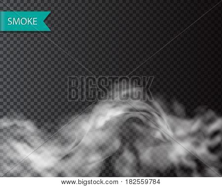 Smoke fog or cloud isolated transparentl effect. Vector cloudiness, mist template illustration