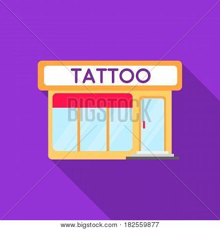 Tattoo salon building parlor icon flate. Single tattoo icon from the big studio flate.