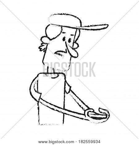 confused man looking at cellphone  cartoon icon image vector illustration design