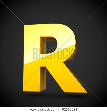 Glossy Yellow Paint Letter R Uppercase With Softbox Reflection