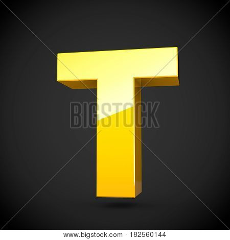 Glossy Yellow Paint Letter T Uppercase With Softbox Reflection