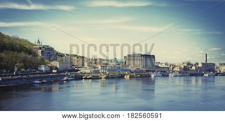 Kyiv Ukraine - April 172017: The postal square in Kiev on Podol the Dnipro river. view of the square from the river panorama