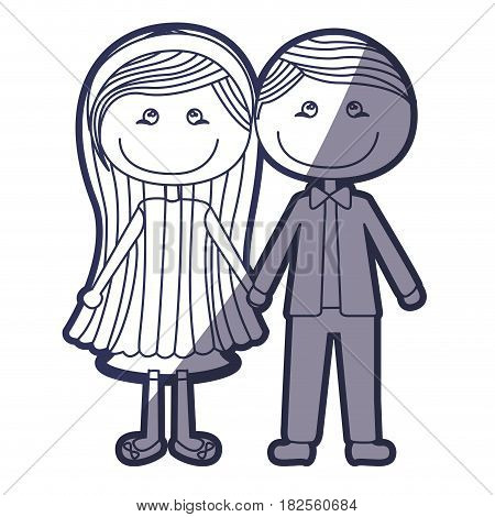 blue color contour caricature couple in suit formal with taken hands vector illustration