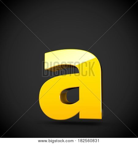 Glossy Yellow Paint Letter A Lowercase With Softbox Reflection