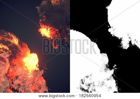 Composition with large explosions and black smoke in dark plus alpha channel. 3d rendering
