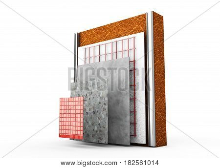 3d render thermal insulation of walls Polystyrene, Heating, Blind, Dowels, Polyurethane,