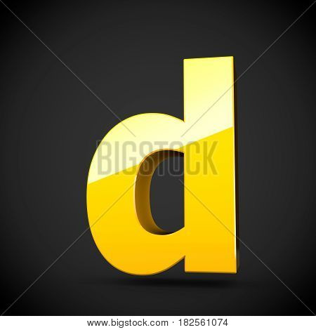 Glossy Yellow Paint Letter D Lowercase With Softbox Reflection