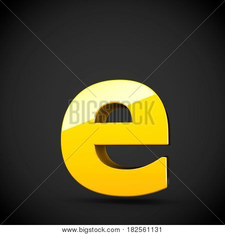 Glossy Yellow Paint Letter E Lowercase With Softbox Reflection