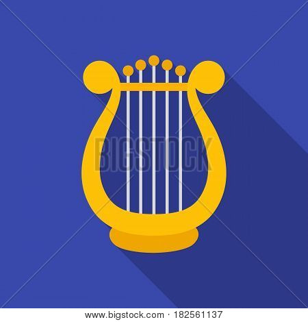 Harp icon in flate style isolated on white background. Theater symbol vector illustration