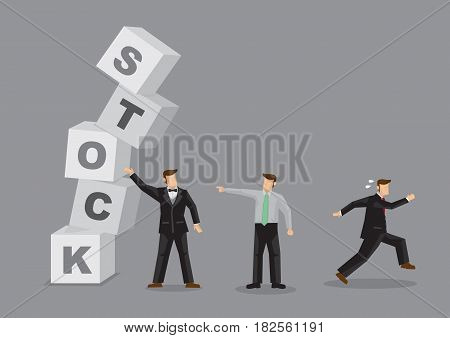 Unstable alphabet block spelled Stock collapsing and different people reaction to it. Creative vector illustration for stock market crash and behavior of different investors and businessmen.