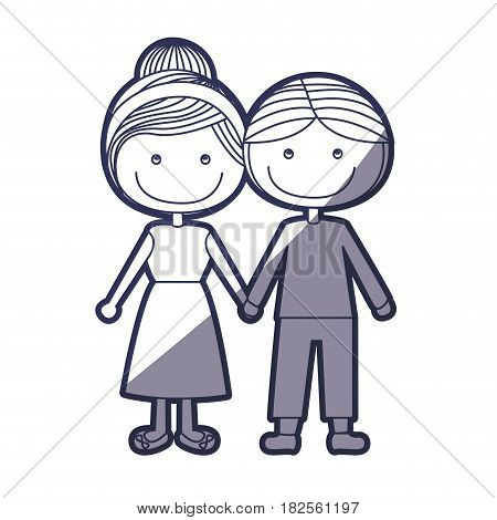 blue color contour caricature man with informal suit and woman collected hairstyle with taken hands vector illustration