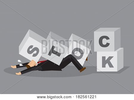 Cartoon man as business investor knocked down and got stuck by fallen letter blocks that spelled Stock. Creative vector illustration on concept for effect of stock market crash for investors and businesses.