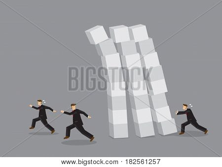Cartoon business professionals running away from unstable collapsing blocks. Creative vector illustration for impending crisis metaphor.