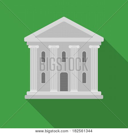 Theatre building icon in flate style isolated on white background. Theater symbol vector illustration