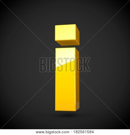 Glossy Yellow Paint Letter I Lowercase With Softbox Reflection
