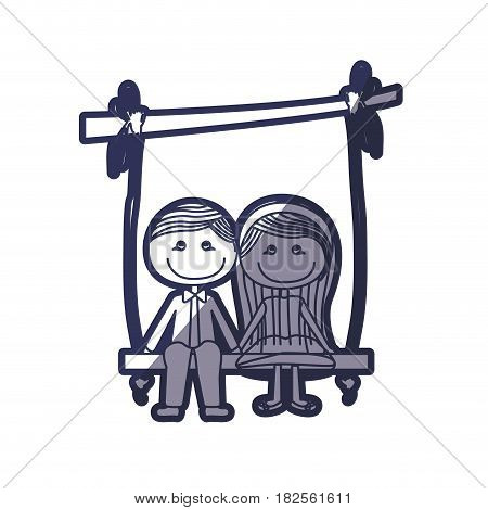 blue color contour caricature couple sit in swing hanging from a branch vector illustration