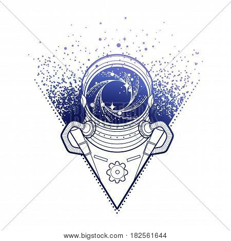 Graphic austronaut with black hole and starry vortex inside his helmet. Vector art in blue colors isolated on white background