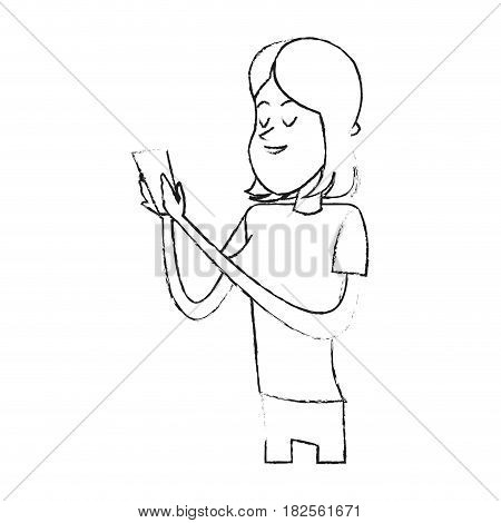 young woman holding cellphone  cartoon icon image vector illustration design