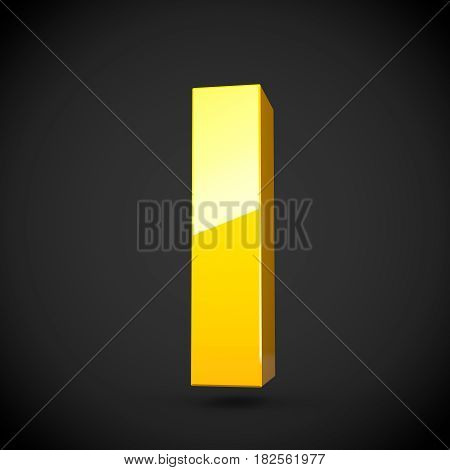 Glossy Yellow Paint Letter L Lowercase With Softbox Reflection