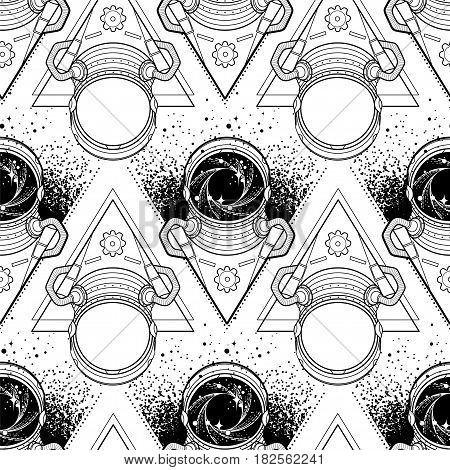 Graphic austronaut with black hole and starry vortex inside his helm. Vector seamless pattern. Coloring book design for adults