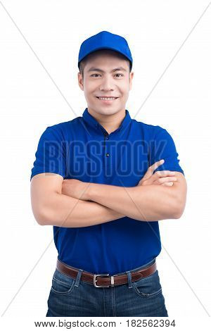 Asian Man In Blue Uniform. White Background.