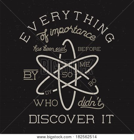 Vintage science poster and background with Stigler s law of eponymy and atom icon. Science background theme. Retro colors style. Vector illustration of science background isolated on dark.