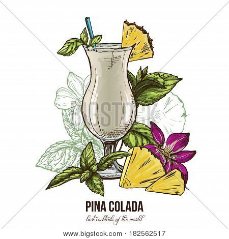 Pina colada cocktail, mint leaves and orchid flower; vector illustration, colored hand drawn sketch