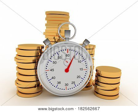 stopwatch and coins 3d . rendered illustration