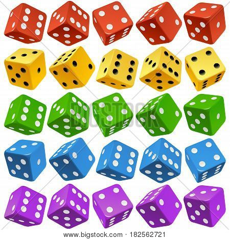 Vector Casino Dice Set of Authentic Icons. Red, Yellow, Green, Blue and Purple Poker Cubes Isolated on White Background. 3d Board Game Pieces