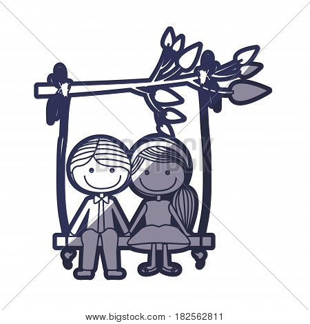 blue color contour caricature guy in formal suit and girl with ponytail hairstyle sit in swing hanging from a branch vector illustration