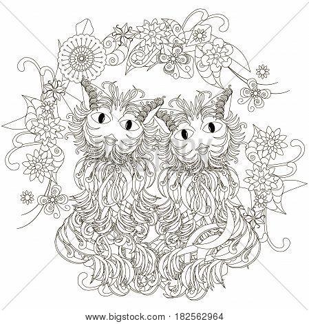 Anti stress cats pair, flowering frame hand drawn monochrome vector illustration