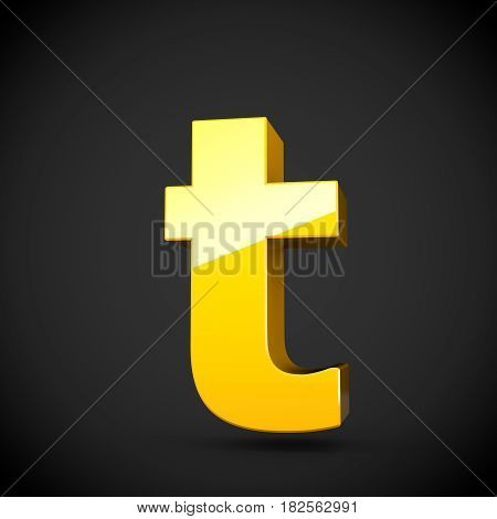 Glossy Yellow Paint Letter T Lowercase With Softbox Reflection