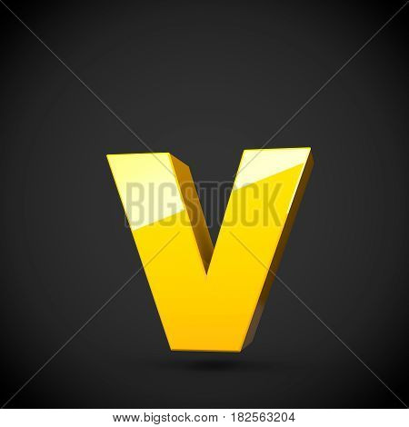 Glossy Yellow Paint Letter V Lowercase With Softbox Reflection