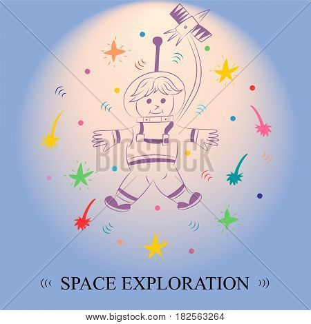 Space Exploration. Children Drawing of Spaceman and Comets Arranged in a Circle on Blue Sky. Vector Illustration.