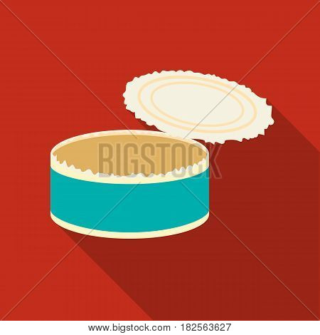 Opened metal tin can icon in flate style isolated on white background. Trash and garbage symbol vector illustration.