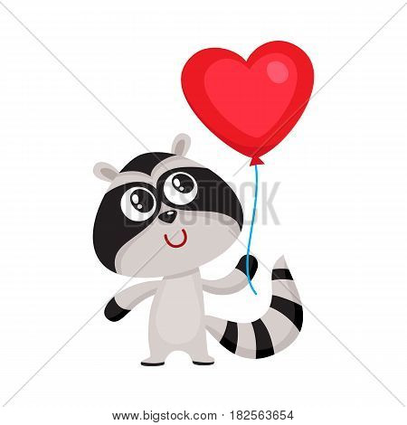 Cute and funny raccoon holding red heart shaped balloon, cartoon vector illustration isolated on white background. Raccoon holding heart balloon, birthday greeting decoration