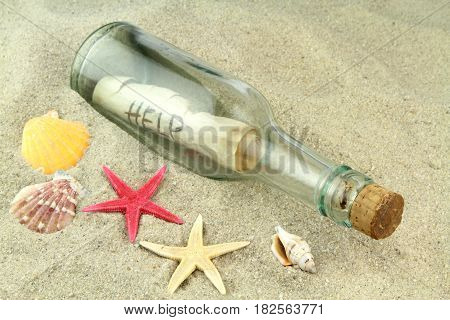 Message in a glass bottle on beach sand