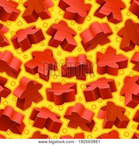 Vector board games background of red meeples. Seamless pattern of wooden pieces for gift wrapping or wallpaper