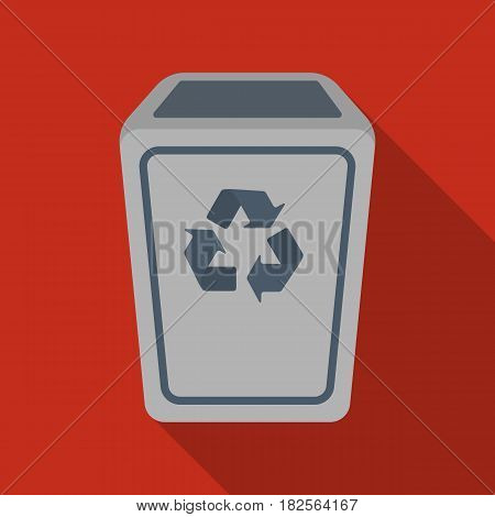 Garbage can icon in flate style isolated on white background. Trash and garbage symbol vector illustration.