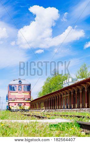 Retro locomotive train and inoperative railway station in Haapsalu Estonia