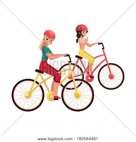 Young woman riding bicycle, cycling together with her teenage daughter, friend, cartoon vector illustration isolated on white background. Full length portrait of mother and daughter riding bicycles