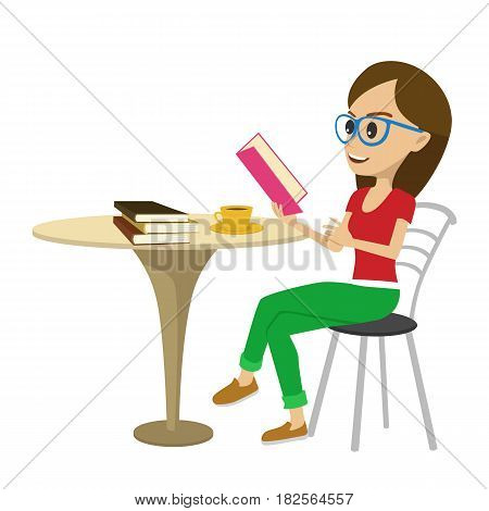 Female student with glasses reading interesting book at table isolated